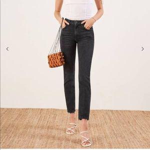 reformation black straight leg jeans